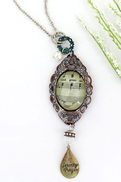 Multi-Tone Ornate Serenity Prayer Hymn Bubble Pendant Necklace