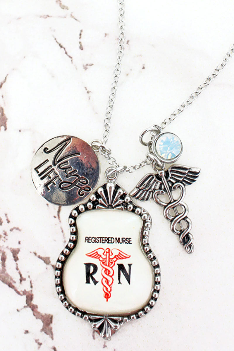 Registered Nurse Bubble Cluster Pendant Necklace Necklace