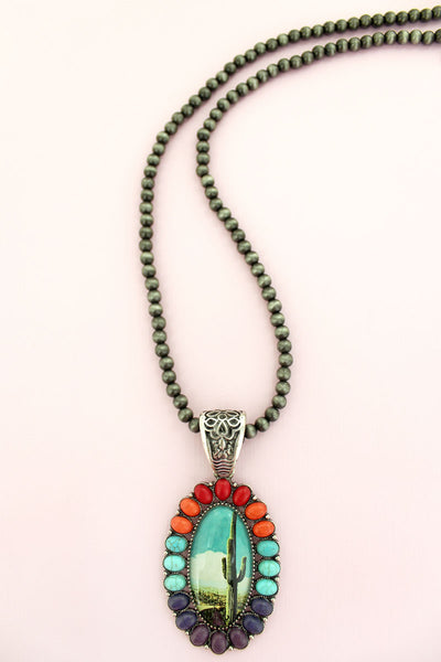 Multi-Color Stone Framed Cactus Bubble Pendant Navajo Inspired Pearl Necklace