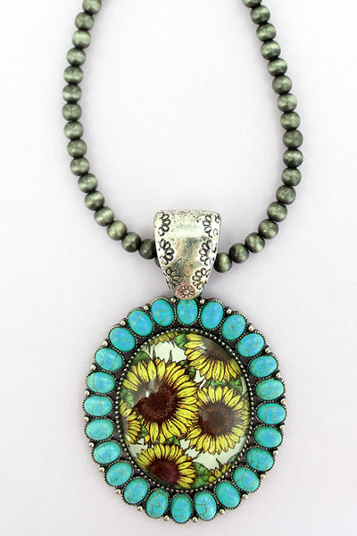Turquoise Stone Framed Sunflower Bubble Pendant Navajo Inspired Pearl Necklace