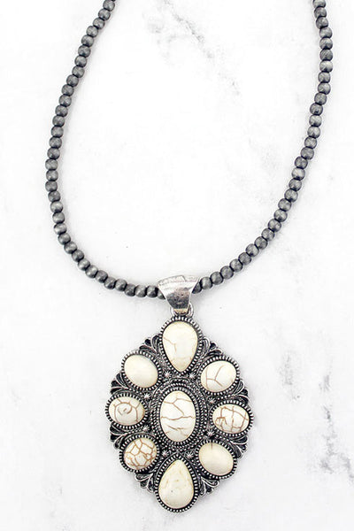 White Marquise Navajo Inspired Pearl Necklace