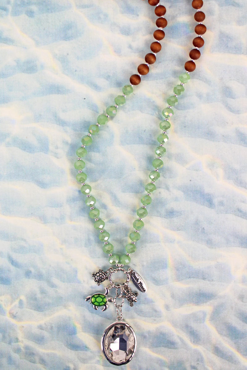Turtle Crystal Cluster Pendant Mint Glass & Wood Beaded Necklace