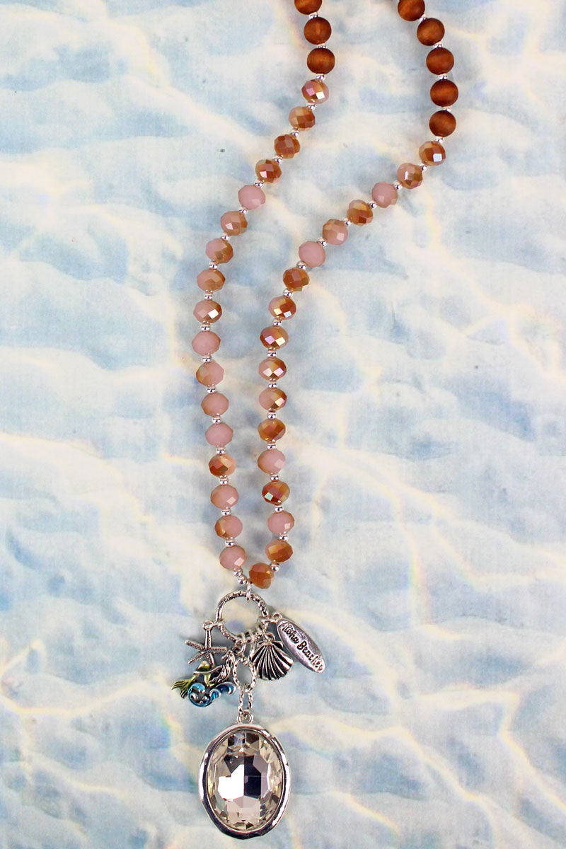 Mermaid Crystal Cluster Pendant Peach Glass & Wood Beaded Necklace