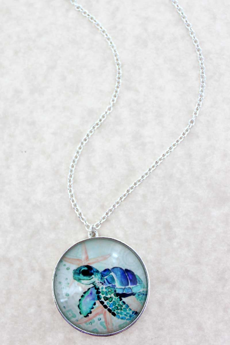 Sea Turtle Bubble Pendant Necklace