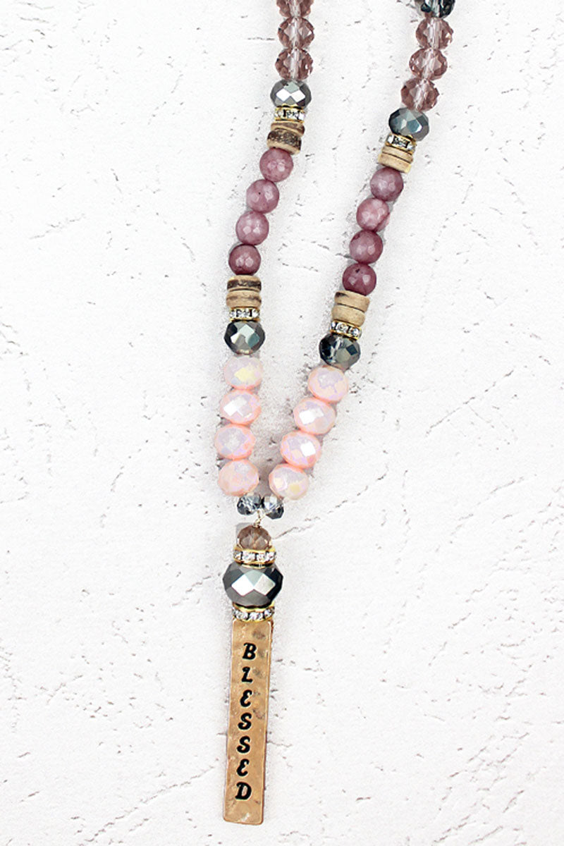 Goldtone 'Blessed' Wood Bead Medley Necklace