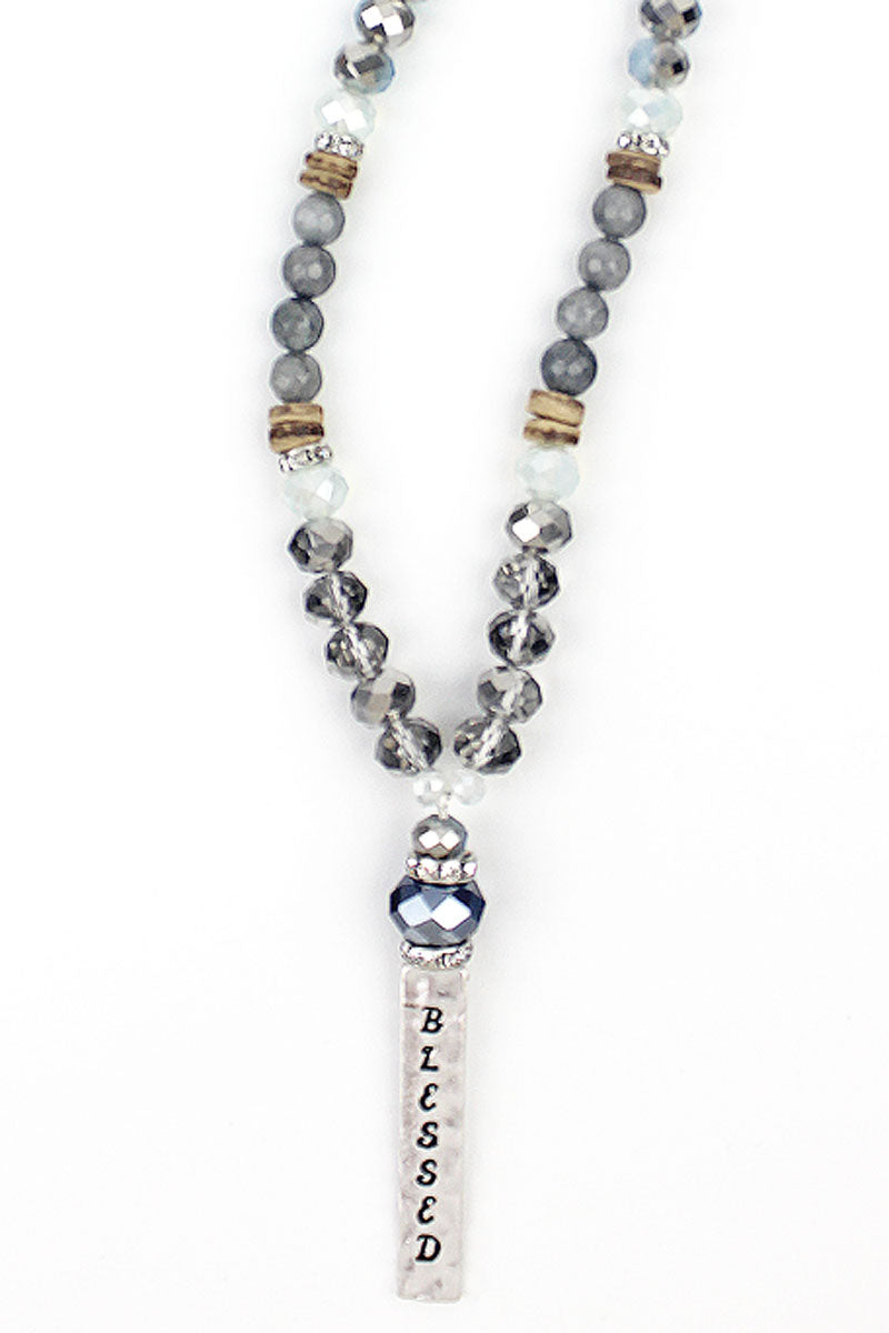 Silvertone 'Blessed' Wood Bead Medley Necklace