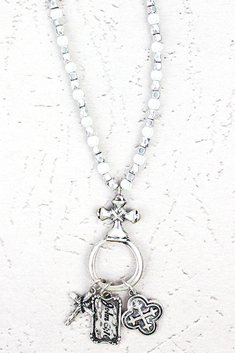 Silvertone John 3:16 Cross Cluster Pendant Beaded Necklace