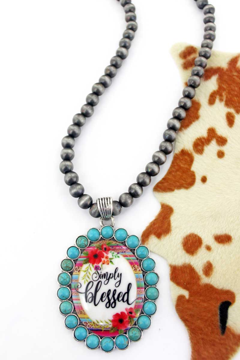 Turquoise Stone 'Simply Blessed' Pendant Silver Pearl Necklace