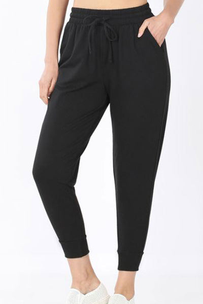 Black French Terry Ankle Jogger Sweatpants