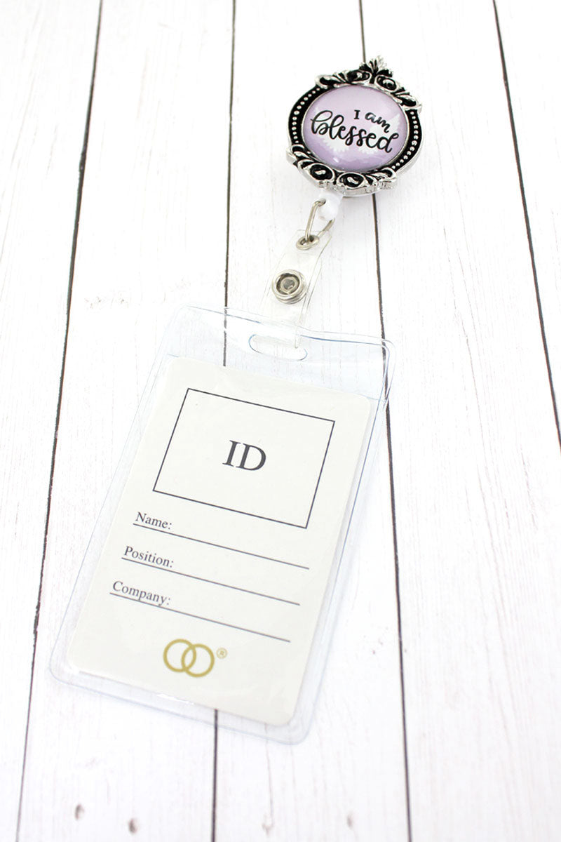 I Am Blessed Bubble Charm Retractable ID Holder