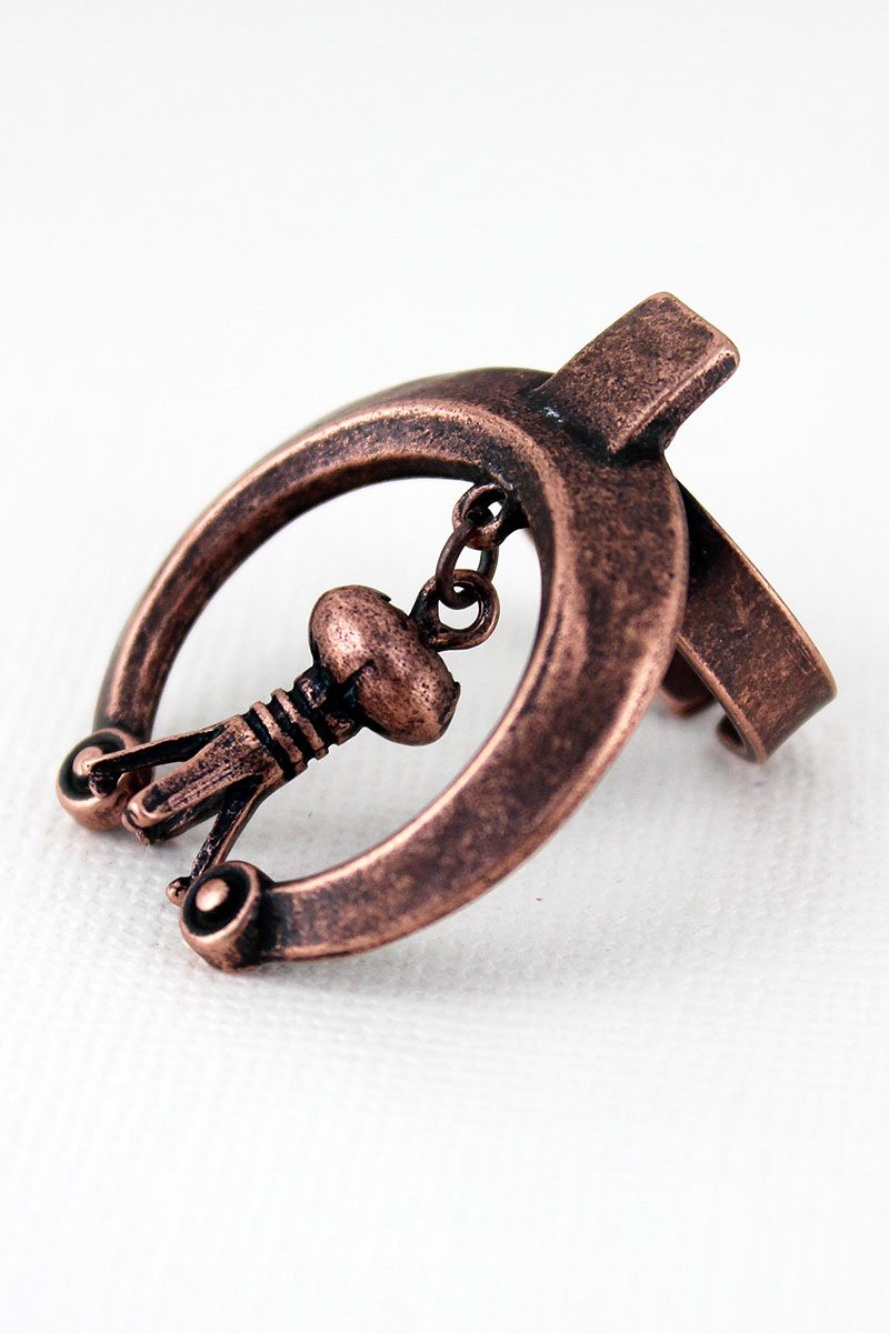 SALE! Worn Coppertone Naja with Squash Blossom Charm Cuff Ring