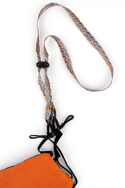Orange and Black Tie-Dye Face Mask Lanyard