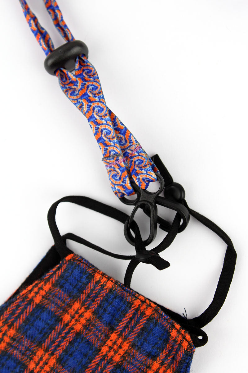 Orange and Blue Tie-Dye Face Mask Lanyard