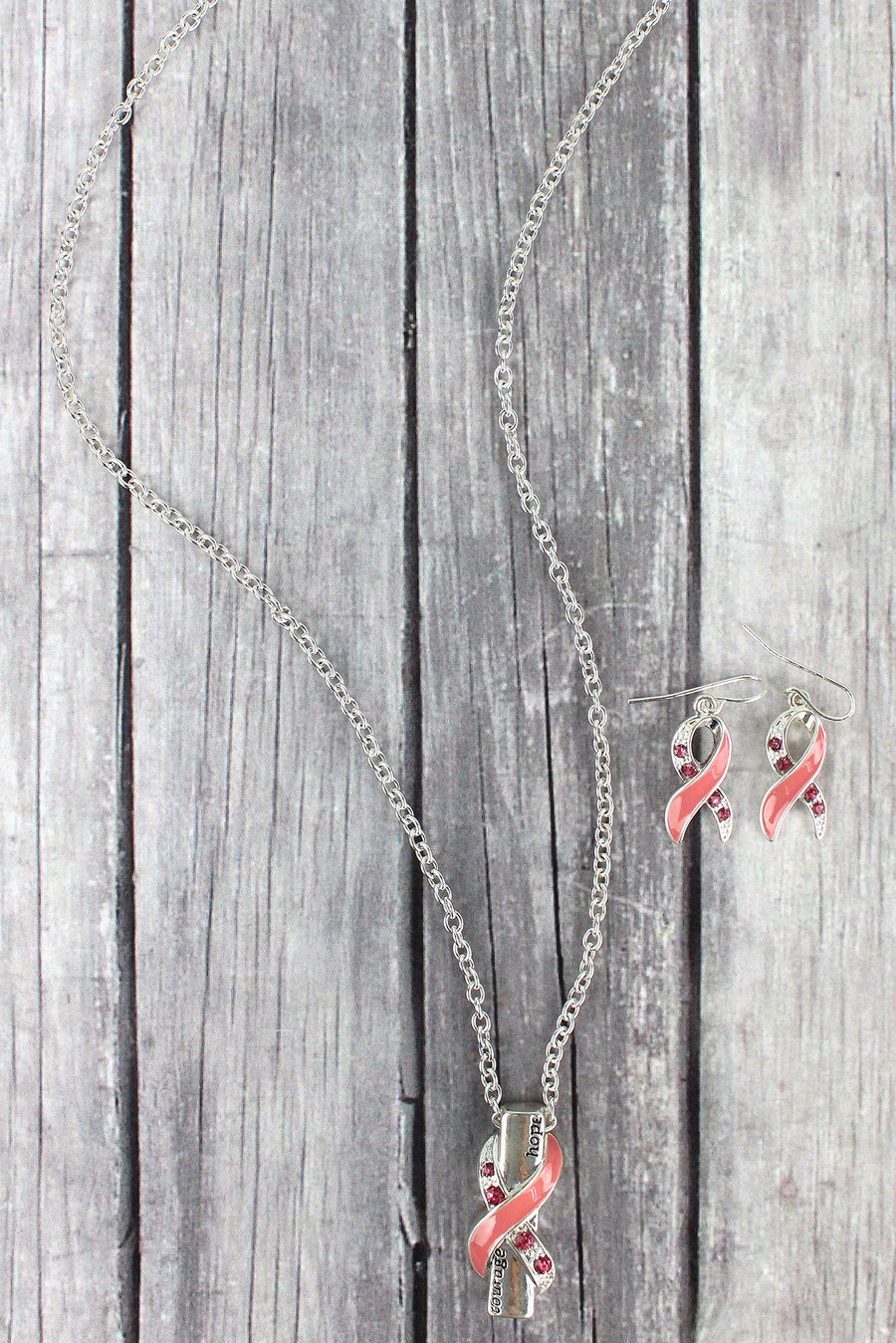 Silvertone and Pink Crystal 'Courage Hope' Ribbon Necklace and Earrings Set
