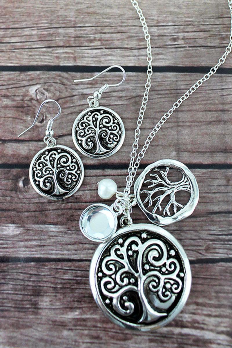 Silvertone Scroll Tree of Life Cluster Pendant Necklace and Earring Set