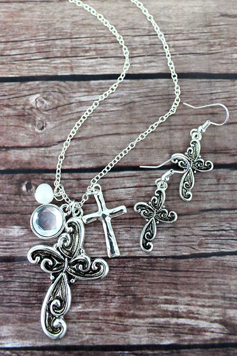 Silvertone Scroll Cross Cluster Pendant Necklace and Earring Set