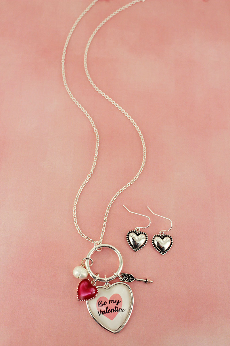 Be My Valentine Bubble Heart Charm Pendant Necklace and Earring Set