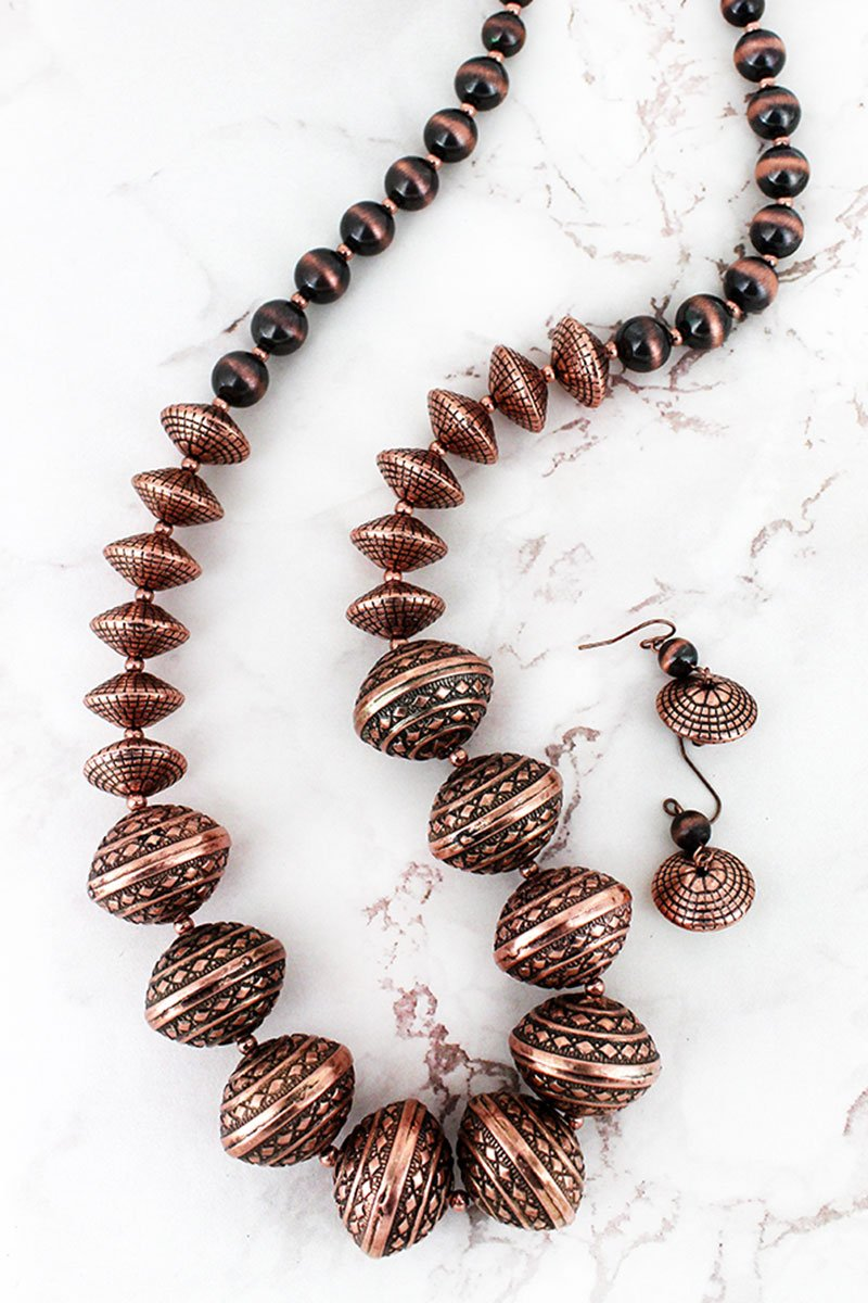 Burnished Coppertone Chunky Western & Navajo Pearl Beaded Necklace and Earring Set