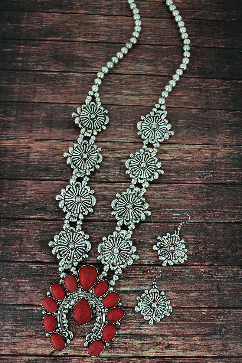 Red Beaded Naja and Western Disk Necklace and Earring Set