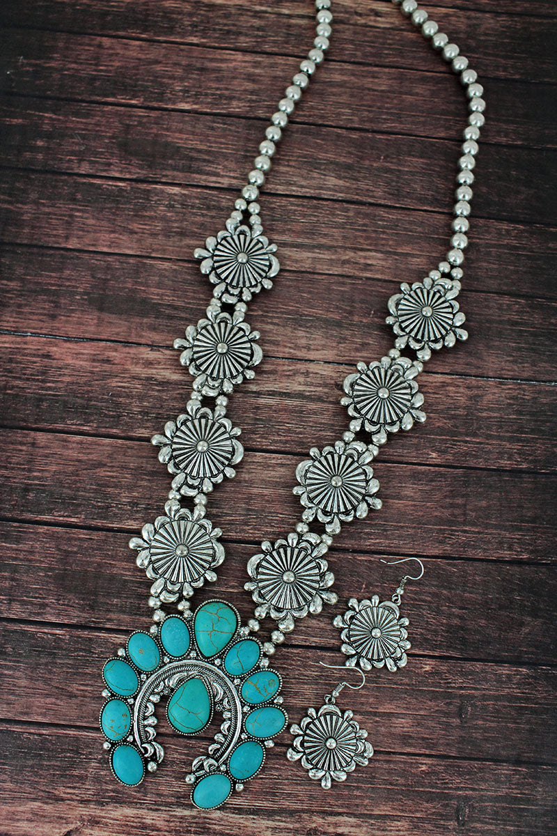 Turquoise Beaded Naja and Western Disk Necklace and Earring Set