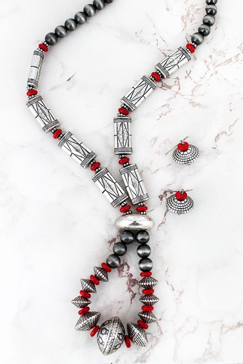 Burnished Silvertone and Red Western Beaded Loop Necklace and Earring Set