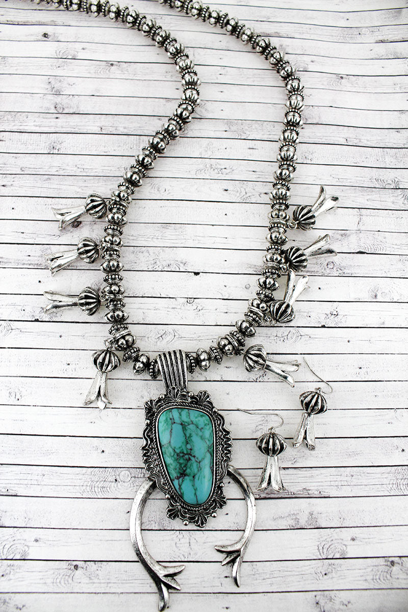 Chunky Turquoise Stone Squash Blossom Beaded Necklace and Earring Set