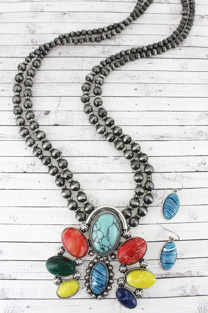 Burnished Silvertone and Multi-Color  Naja Pendant Navajo Pearl Necklace and Earring Set