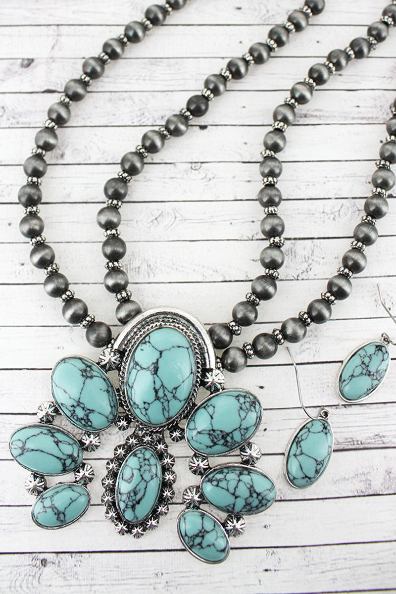 Burnished Silvertone and Turquoise Naja Pendant Navajo Pearl Necklace and Earring Set