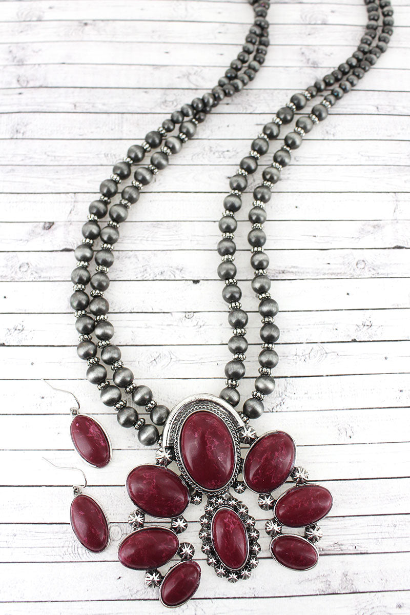 Burnished Silvertone and Red Naja Pendant Navajo Pearl Necklace and Earring Set