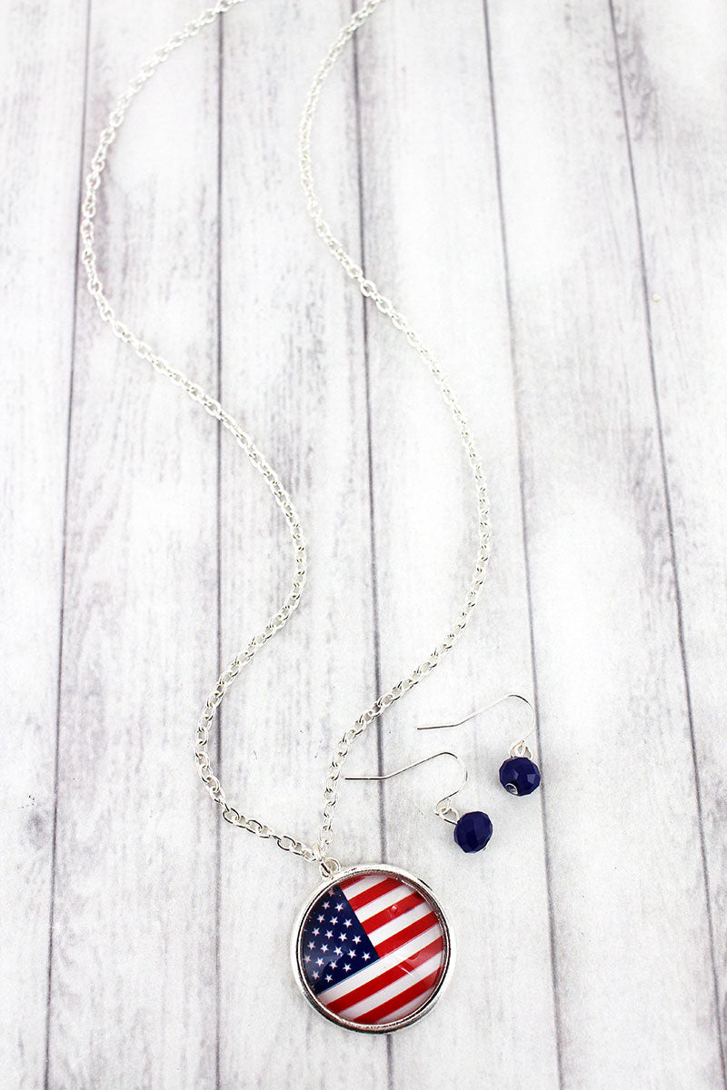 US Flag Bubble Disk Pendant Necklace and Earring Set