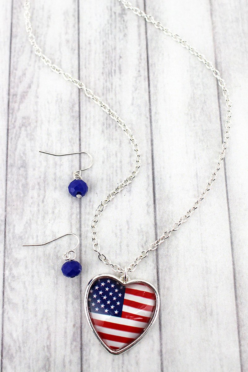 US Flag Bubble Heart Pendant Necklace and Earring Set