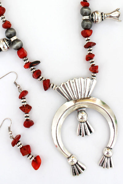Silvertone and Red Chip Stone Squash Blossom Necklace and Earring Set