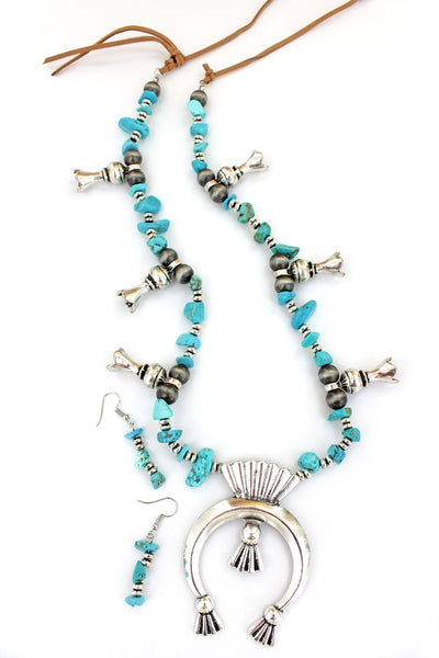 Silvertone and Turquoise Chip Stone Squash Blossom Necklace and Earring Set
