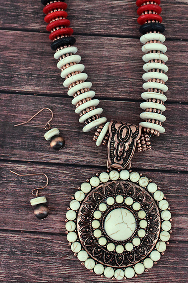 White and Coppertone Medallion Flat Disk Bead Necklace and Earring Set