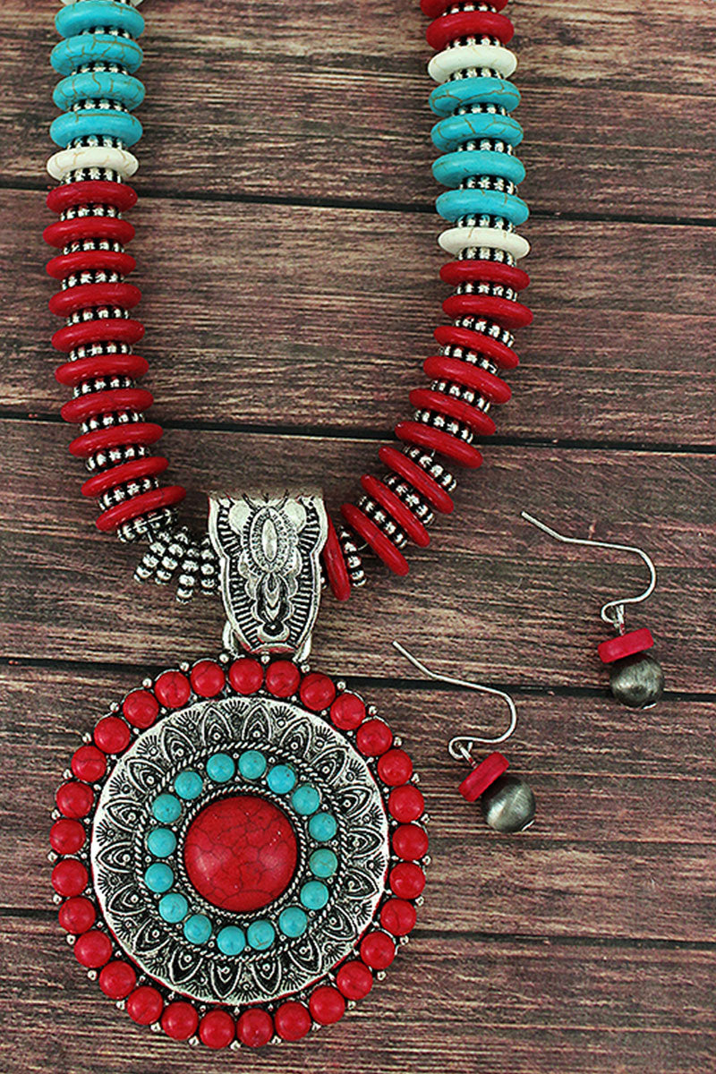 Red and Silvertone Medallion Flat Disk Bead Necklace and Earring Set