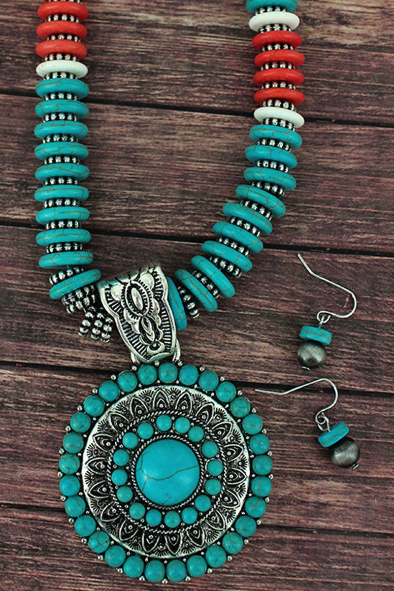 Turquoise and Silvertone Medallion Flat Disk Bead Necklace and Earring Set