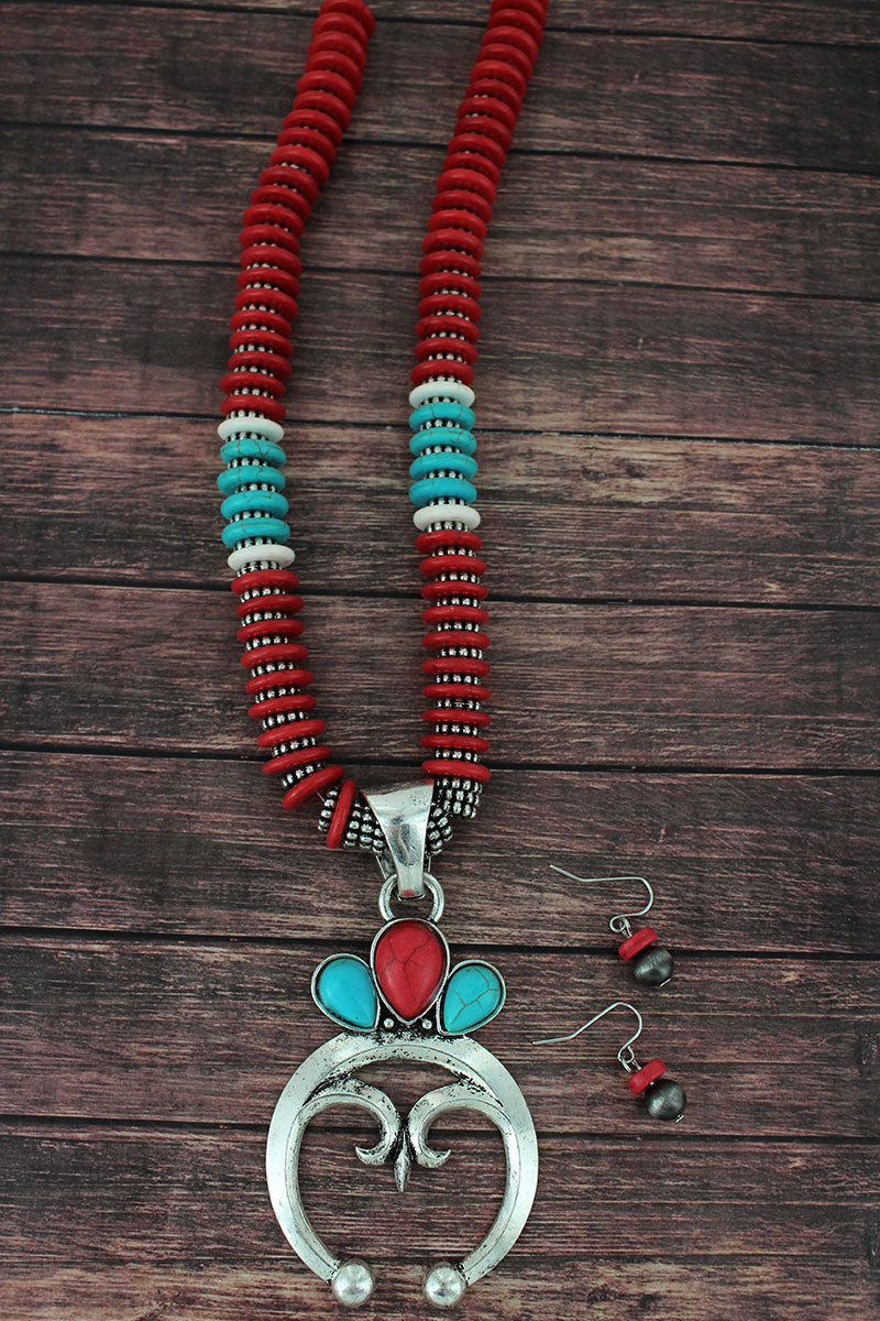Turquoise and Red and Silvertone Naja Flat Disk Bead Necklace and Earring Set