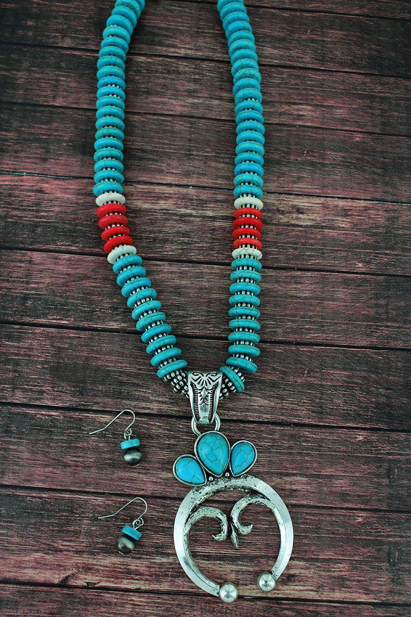 Turquoise and Silvertone Naja Flat Disk Bead Necklace and Earring Set