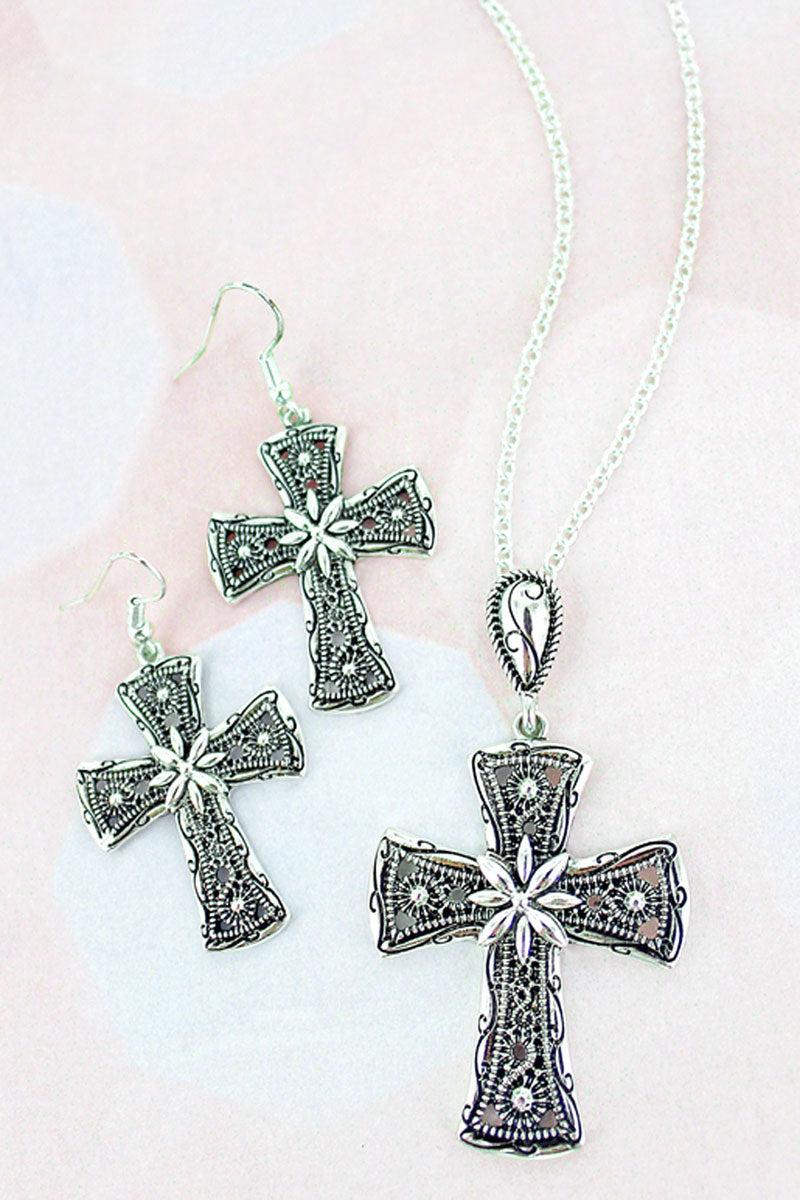 Silvertone Treviso Cross Necklace and Earring Set