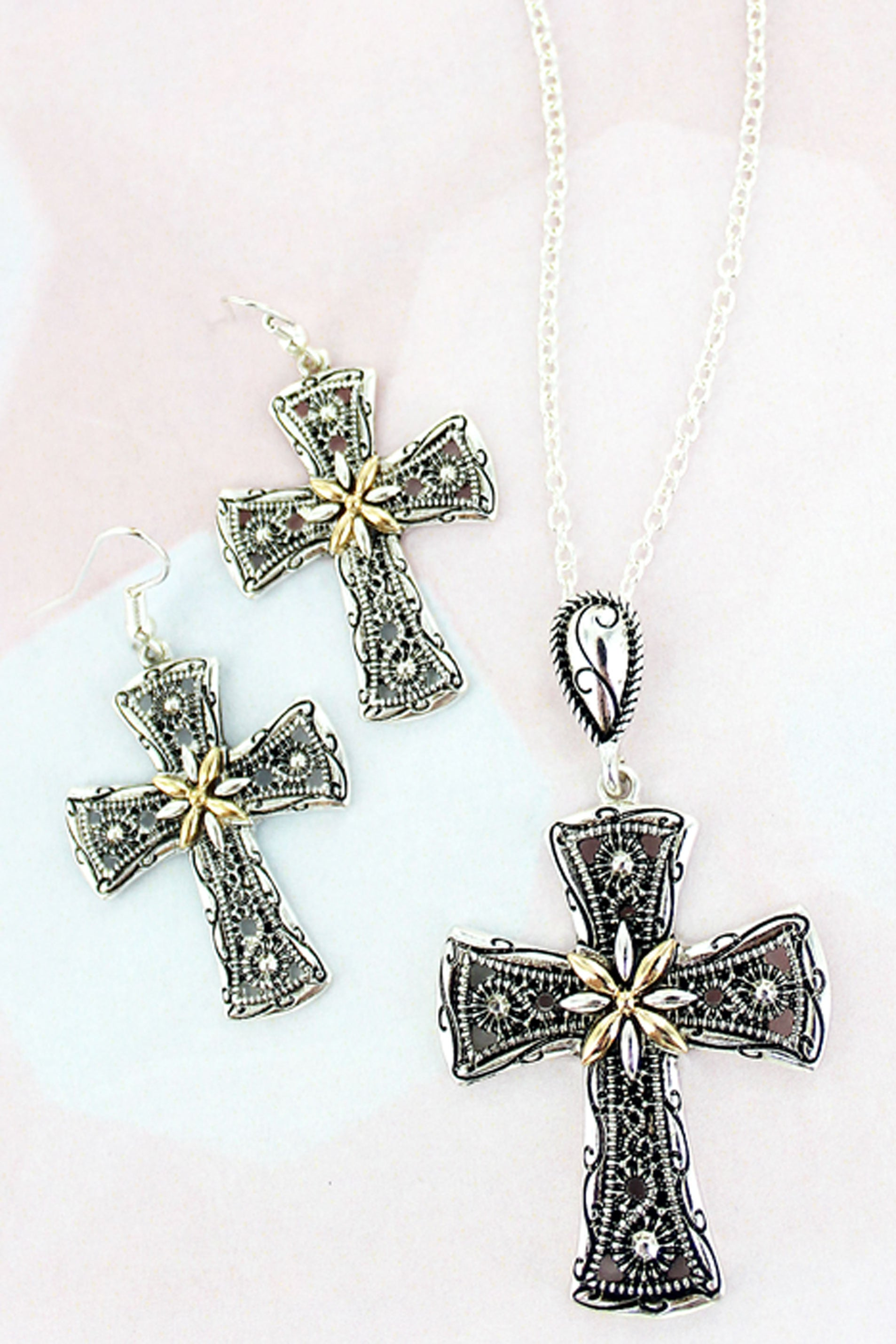 Two-Tone Treviso Cross Necklace and Earring Set