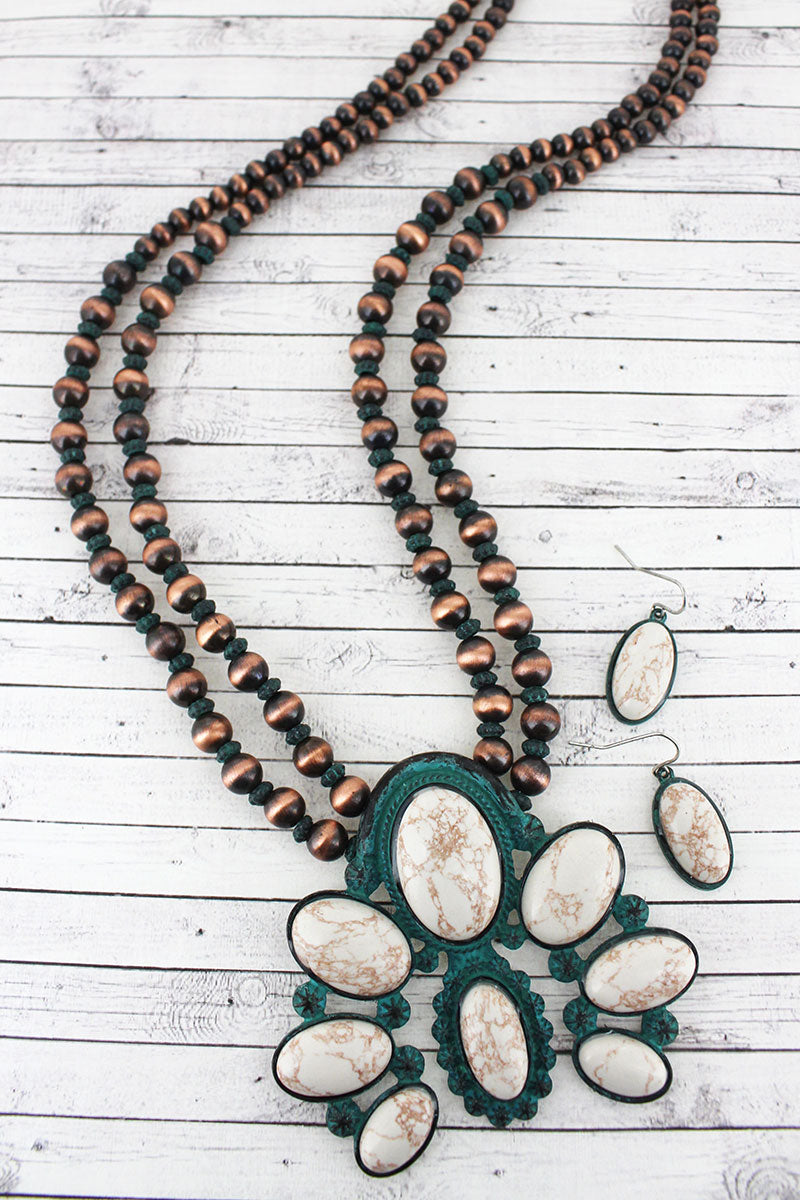 Worn Coppertone and Patina Naja Pendant Navajo Pearl Necklace and Earring Set