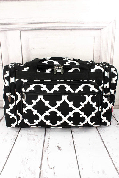 NGIL Black Moroccan Geometric Duffle Bag 20""