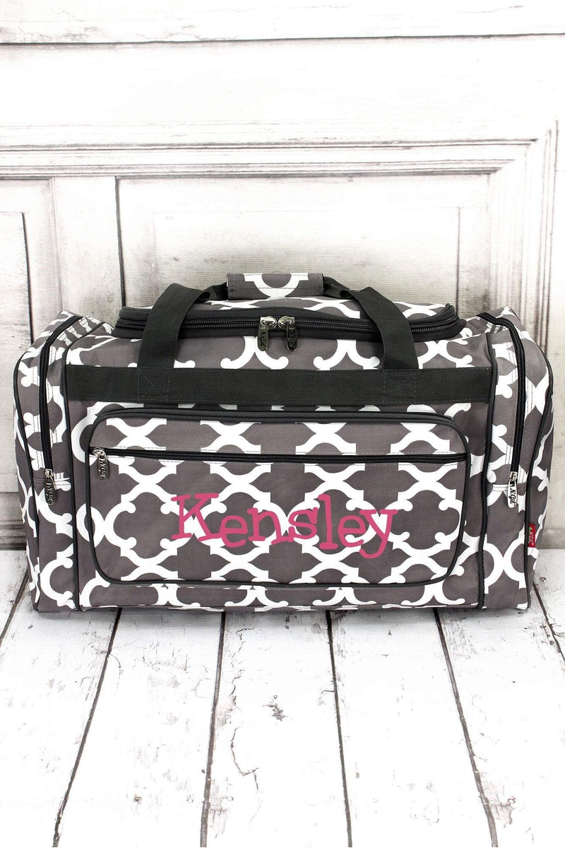 "Gray Moroccan Geometric Duffle Bag 23"" #OTG423-GRAY"