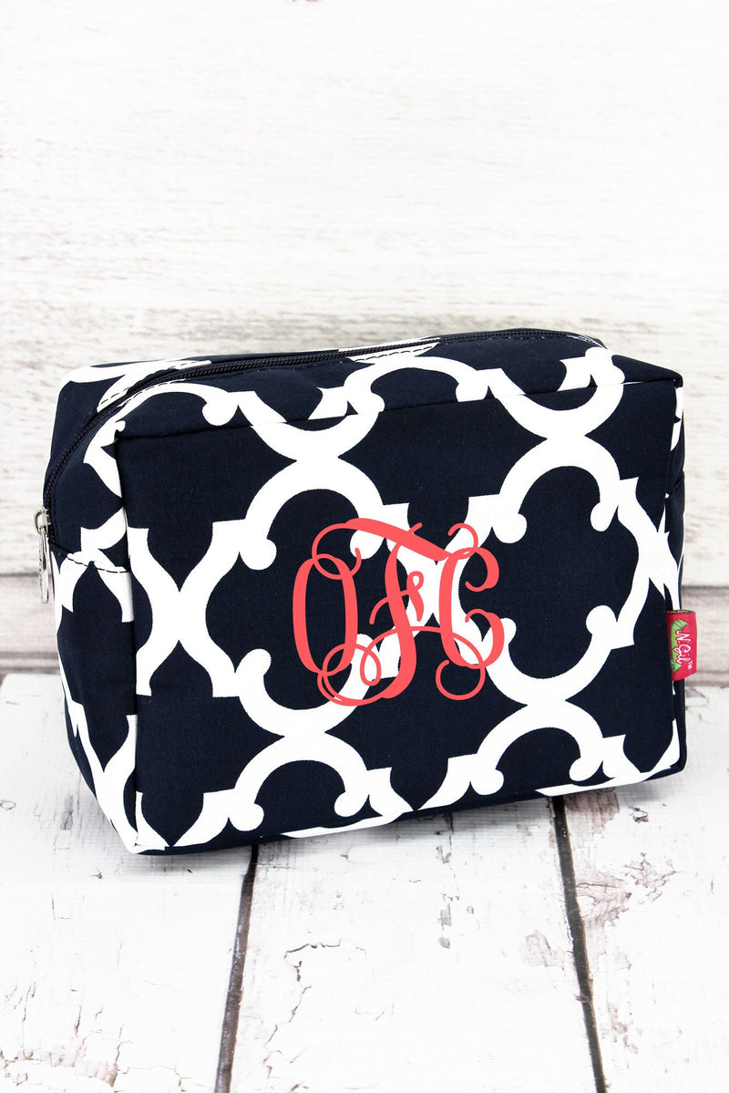 Navy Moroccan Geometric Cosmetic Case #OTG613-NAVY
