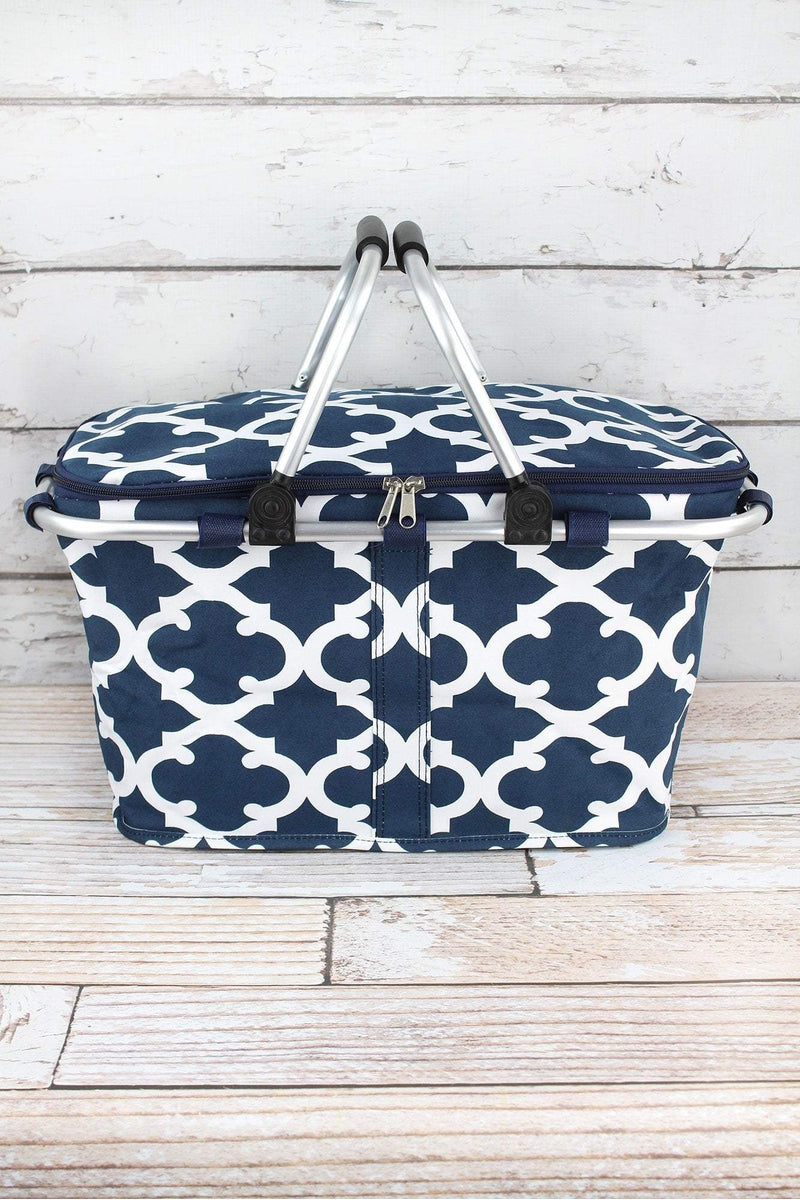 NGIL Navy Moroccan Geometric Collapsible Insulated Market Basket with Lid