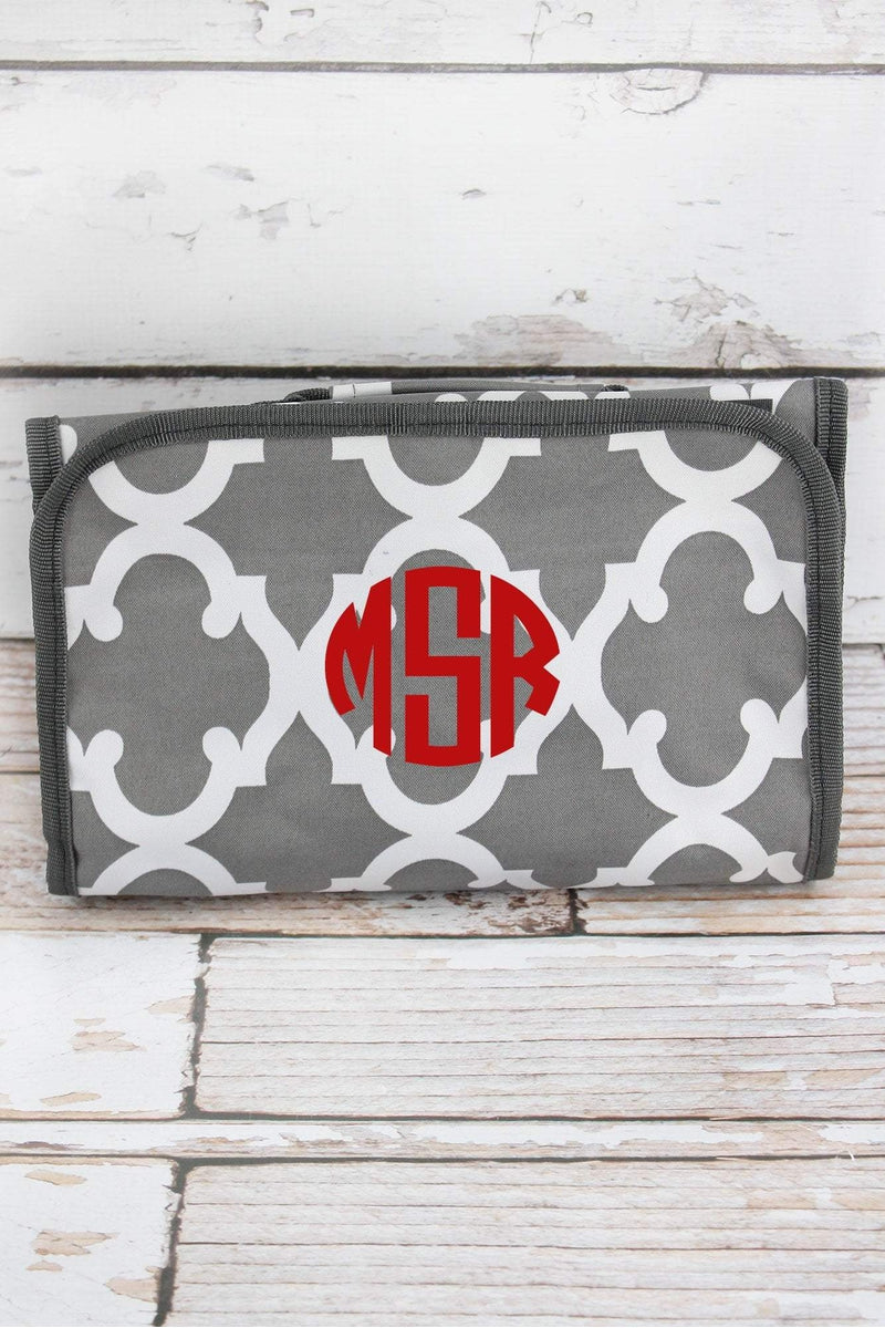 NGIL Gray Moroccan Geometric Roll Up Cosmetic Bag