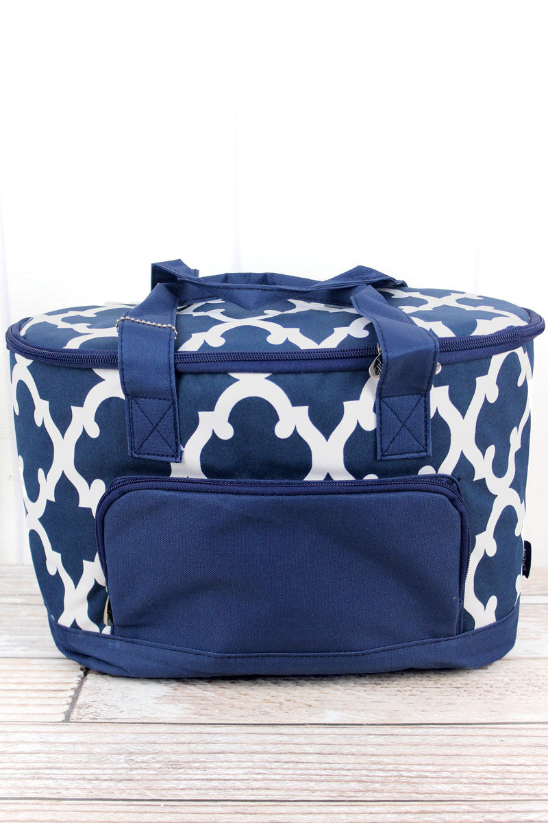 NGIL Navy Moroccan Geometric Mini Cooler Tote with Lid