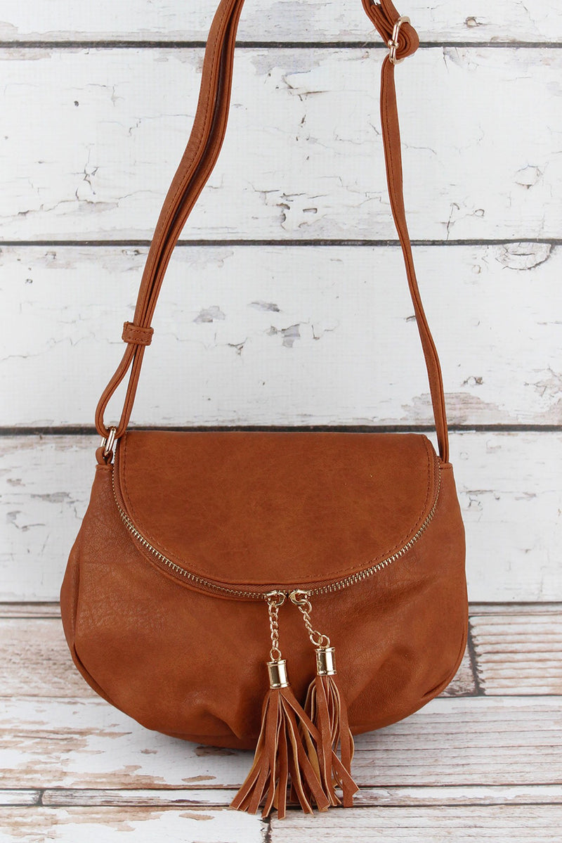 Light Brown Faux Leather Tassel Crossbody Saddle Bag