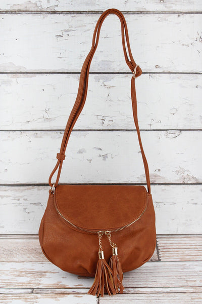 NGIL Light Brown Faux Leather Tassel Crossbody Saddle Bag