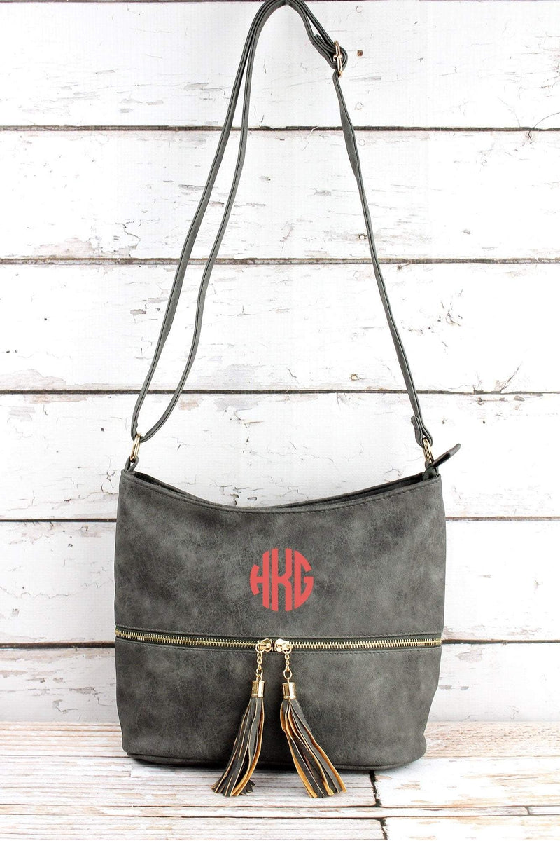 NGIL Dark Gray Faux Leather Double Tassel Zip Pocket Crossbody Bag